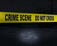 Police Crime Scene, Murder, Background. A murder victim crime scene background. Yellow police tape blocks off a killing Royalty Free Stock Photography