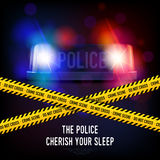 Police Crime Tape And Siren. Police crime scene with yellow tape red and blue flashing siren realistic vector illustration Stock Photography