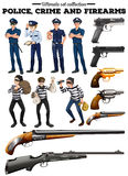 Police and criminal set. Illustration Stock Photo