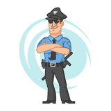 Police crossed hands and smiling Royalty Free Stock Photos
