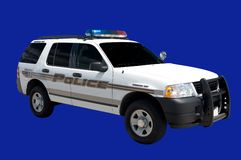 Police Cruiser. Isolated Police Cruiser vehicle. This one is a command unit royalty free stock photo