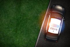 Police Cruiser on the Road. Top View Illustration Royalty Free Stock Photography