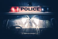 Police Cruiser Traffic Stop. Closeup Photo. American Police Car Royalty Free Stock Photo