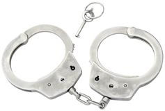 Police Cufs Cutout. Handcuffs Isolated with Clipping Path royalty free stock photo