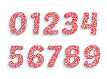Police décorative de nombres Ornement floral dans toutes les formes de nombres Image stock