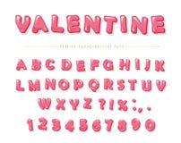 Police décorative rose brillante Lettres et nombres d'ABC de bande dessinée Perfectionnez pour les cartes de jour de Valentine s, Photos libres de droits
