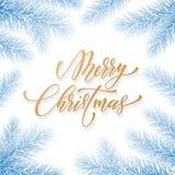 Police d'or à la mode de calligraphie de citation de Joyeux Noël sur le fond congelé bleu de glace pour le calibre de conception  Image libre de droits