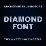 Police d'alphabet de diamant Symboles et nombres de lettres brillants illustration de vecteur