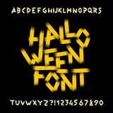Police d'alphabet de Halloween Lettres, nombres et symboles sales illustration stock