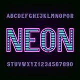 Police d'alphabet de lumière de tube au néon Photo libre de droits