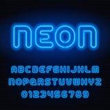 Police d'alphabet de tube au néon Lettres et nombres bleus de couleur illustration de vecteur