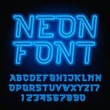 Police d'alphabet de tube au néon Type oblique lettres et nombres de couleur bleue Image libre de droits