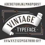 Police d'alphabet de vintage Lettres et nombres d'effet de rouille illustration libre de droits