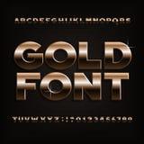 Police d'alphabet d'effet d'or Lettres, nombres et symboles métalliques audacieux Images libres de droits