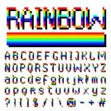Police d'arc-en-ciel de pixel symboles à 8 bits Style de jeu vidéo de Digital Lettres et nombres Rétro ABC d'oeil d'un caractère  illustration stock