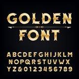 Police d'or d'alphabet de vintage Lettres et nombres métalliques d'effet illustration stock