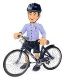 police 3D en bref avec son vélo Photo libre de droits