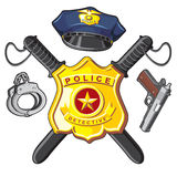 Police d'insigne, de pistolet et de bâtons Photos stock