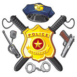 Police d'insigne, de pistolet et de bâtons Images libres de droits