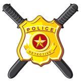 Police d'insigne et de bâtons illustration de vecteur