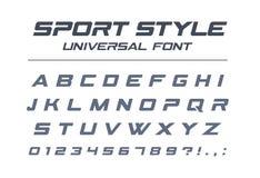 Police d'universel de style de sport Vitesse rapide, futuriste, technologie, futur alphabet illustration libre de droits