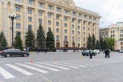 Police dans la place à Kharkiv Image libre de droits