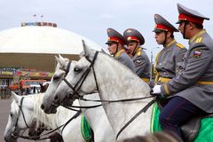 Police days. Horse police. Tatarstan police occasion days in Kazan. Horse police Stock Photos