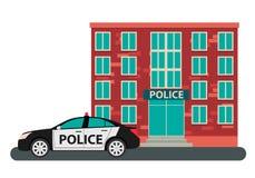 Police de bâtiment et la voiture Image stock