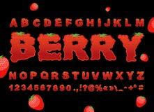Police de baie Fraise ABC Alphabet rouge de fruit frais Marque avec des lettres le franc Images stock