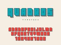 Police de bloc carré Lettres et nombres d'alphabet latin fonte 3D Illustration de vecteur illustration de vecteur