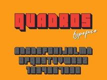 Police de bloc carré de vecteur Lettres et nombres d'alphabet latin fonte 3D illustration stock