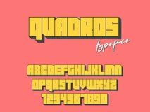 Police de bloc carré de vecteur Lettres et nombres d'alphabet latin fonte 3D illustration libre de droits