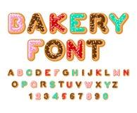 Police de boulangerie Beignet ABC Cuit au four dans des lettres d'huile Glaçage de chocolat Photos libres de droits