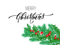 Police de calligraphie de Joyeux Noël sur le fond de la meilleure qualité blanc pour le calibre de conception de vacances de Noël Image libre de droits