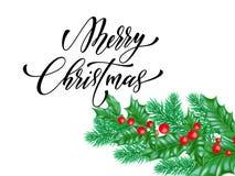 Police de calligraphie de Joyeux Noël sur le fond de la meilleure qualité blanc pour le calibre de conception de vacances de Noël Photo stock