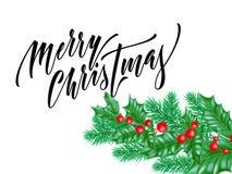 Police de calligraphie de Joyeux Noël sur le fond de la meilleure qualité blanc pour le calibre de conception de vacances de Noël Images stock