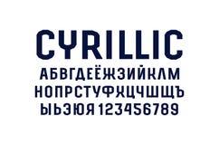 Police de caractère sans obit et sans empattement de cyrillique dans le style de sport Images stock