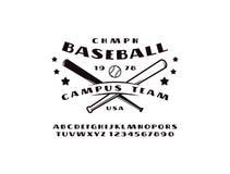 Police de caractère sans obit et sans empattement et emblème d'équipe de baseball Image stock