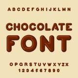 Police de chocolat Dessert ABC Alphabet doux Lettre de Brown Confe Images stock