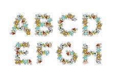 Police de déchets Déchets ABC alphabet de déchets Ordures de lettre Partie 1 Photo libre de droits