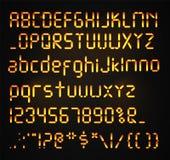 Police de Digital d'isolement Alphabet réaliste rougeoyant de Digital Lettres de réveil Nombres et lettres réglés pour un numériq Illustration Stock