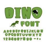 Police de Dino dinosaure ABC Animal de texture de la période jurassique Illustration de Vecteur