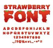 Police de fraise Baie ABC Alphabet rouge de fruit frais Marque avec des lettres le franc Image stock