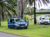 Police de gendarmerie dans la banlieue de Papeete, Tahiti, Polynésie française Photos stock