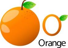 Police de l'illustrateur o avec l'orange Image stock