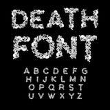 Police de la mort Os ABC Alphabet squelettique Marque avec des lettres l'anatomie crâne Photo stock