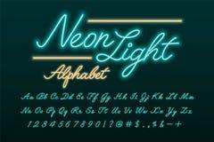 Police de manuscrit de lampe au néon illustration libre de droits