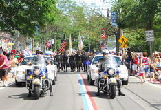 Police de moto de Bristol, Rhode Island Images libres de droits