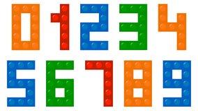 Police de nombres de blocs constitutifs d'enfants Photographie stock