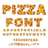 Police de pizza Marque avec des lettres la pâte Alphabet de nourriture Aliments de préparation rapide ABC italien illustration stock